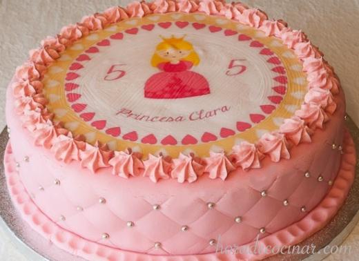 ta fondant con oblea princesa rosa