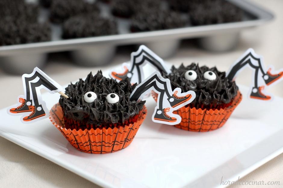 Cupcakes arañas de Halloween