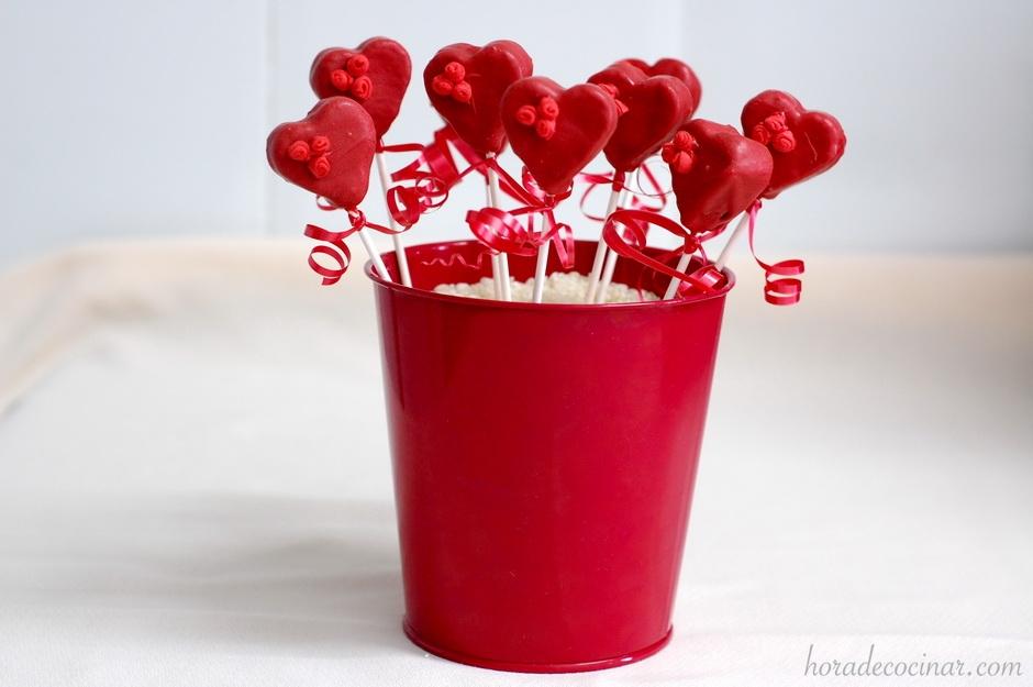 Cake pops corazón de San Valentín
