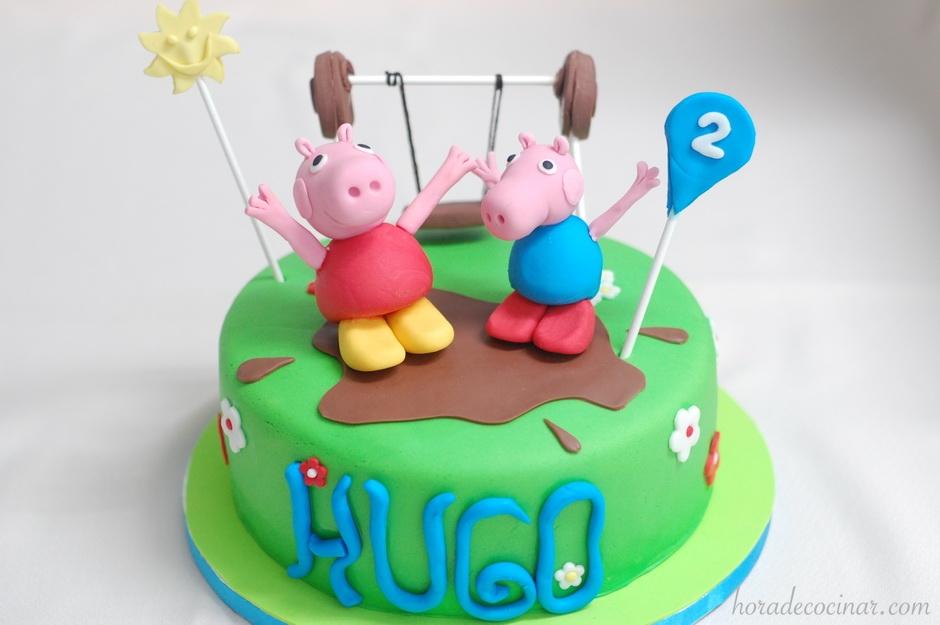 Tarta fondant Peppa Pig y George 3D