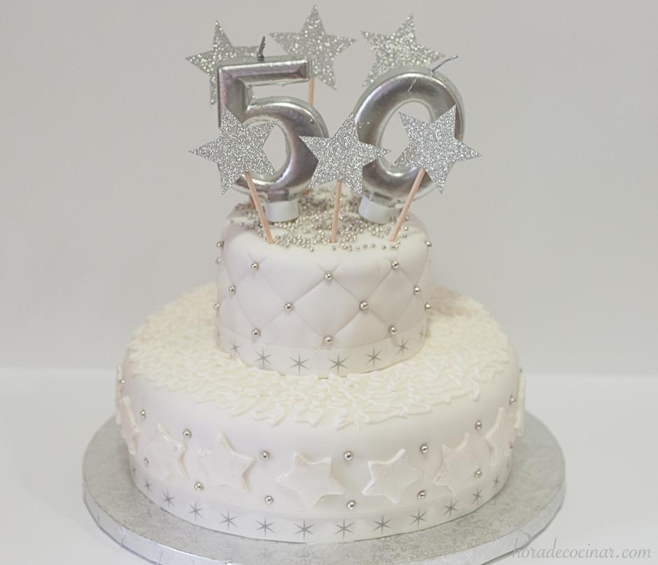 Tarta fondant 50 aniversario